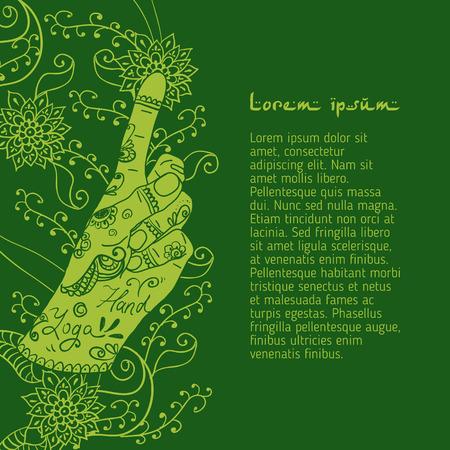 bronchitis: Element yoga Bronchitis mudra hands with mehendi patterns. Vector illustration for a yoga studio, tattoo, spa, postcards, souvenirs. Stock Photo