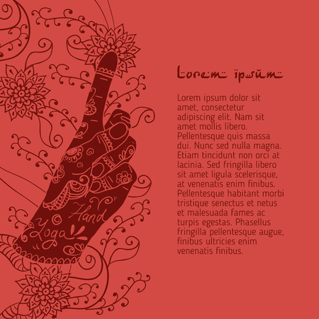 peace movement: Element yoga Bronchitis mudra hands with mehendi patterns. Vector illustration for a yoga studio, tattoo, spa, postcards, souvenirs. Stock Photo