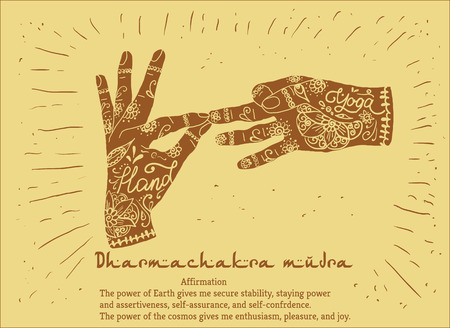 mudra: Element yoga dharmachakra mudra hands with mehendi patterns. Vector illustration for a yoga studio, tattoo, spa, postcards, souvenirs.