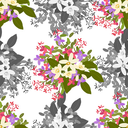 mimosa: Floral  arabis, orange background vector illustration. Sprig of mimosa, flowers and leaves of sakura, cherry and magnolia, spring background, floral greeting card