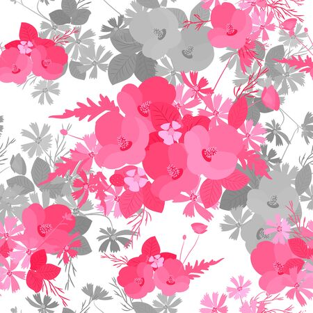 mimosa: Floral poppy and cosmos strawberries background vector illustration. Sprig of mimosa, flowers and leaves of sakura, cherry and magnolia, spring background, floral greeting card