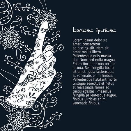 budda: Element yoga Bronchitis mudra hands with mehendi patterns. Vector illustration for a yoga studio, tattoo, spa, postcards, souvenirs. Stock Photo