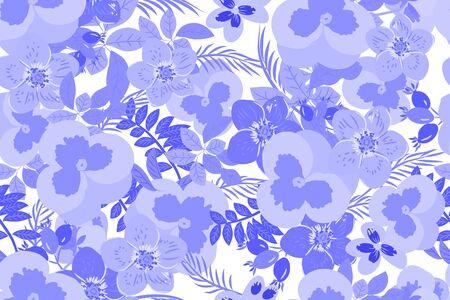 a sprig: Floral  pansy, rose background vector illustration. Sprig background, floral greeting card