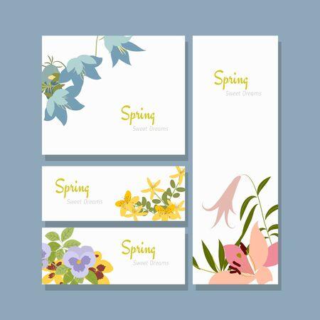 Illustrazione vettoriale fiore di primavera. Lily, viola del pensiero, fiori, campana, erba di San Giovanni. Primavera. sogni d'oro