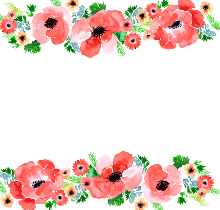garden flowers: Floral watercolor background anemone. Garden flowers anemone