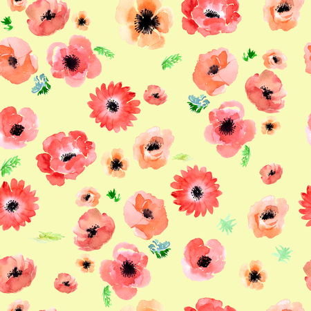 anemone: Floral watercolor background anemone. Garden flowers anemone
