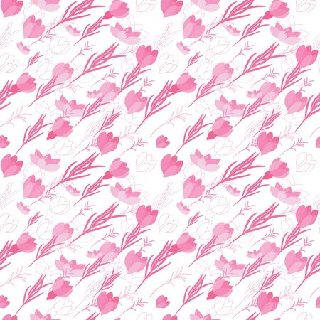 Seamless floral pattern with crocus flowers in the flat and a sketch style. Outline style illustration. Illustration