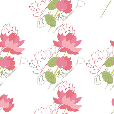 Seamless floral pattern with lotus flowers in the flat and a seamless floral pattern with lotus flowers in the flat and a sketch style outline style mightylinksfo