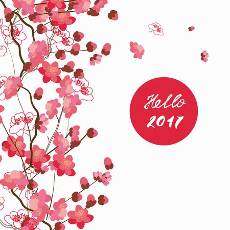 bloemmotief met sakura bloemen in de flat en een schetsstijl. Overzicht stijl illustratie.