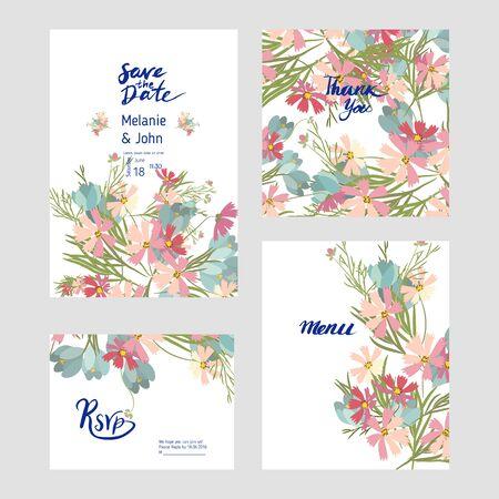 Collection de carte de bouquet de fleurs de mariage. Illustration vectorielle