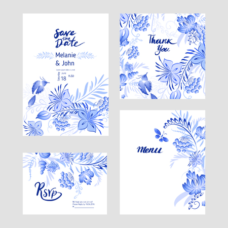 gzhel: Set of blue watercolor flowers and bird with watercolor roses, crystals and butterflies in the bohemian style, decoration flower botanical collections. Traditional Russian style Gzhel. Illustration