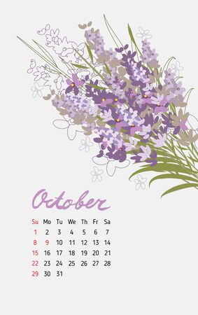 months: Vintage floral calendar 2017 with the names of the months written in calligraphy watercolor. Vector illustration. Illustration