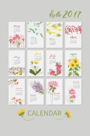 Vintage floral calendar 2017 with the names of the months written in calligraphy watercolor. Vector illustration. Ilustração
