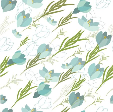 crocus: Seamless vector floral pattern with crocus flowers in the flat and a sketch style. Outline style vector illustration. Illustration
