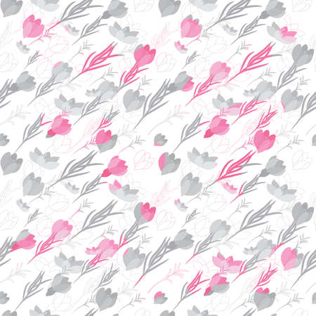 Seamless vector floral pattern with crocus flowers in the flat and a sketch style. Outline style vector illustration. Illustration