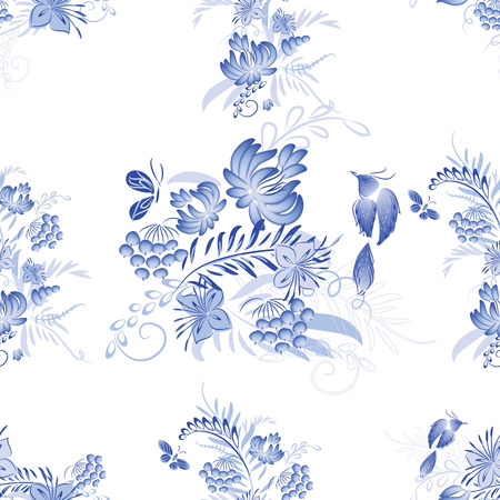 painting style: Set of blue watercolor flowers and bird with watercolor roses, crystals and butterflies in the bohemian style, decoration flower botanical collections. Traditional Russian style Gzhel. Illustration