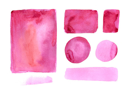 pink paint: Handmade watercolor texture collection of pink paint. Isolated watercolor color marsala spots.