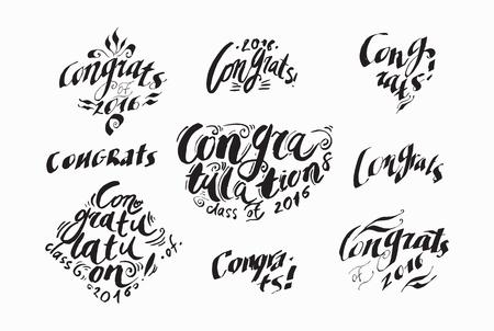 graduation party: Calligraphy congratulations graduates phrases vector illustration. Congratulations on graduation suitable for greeting cards, graduation party