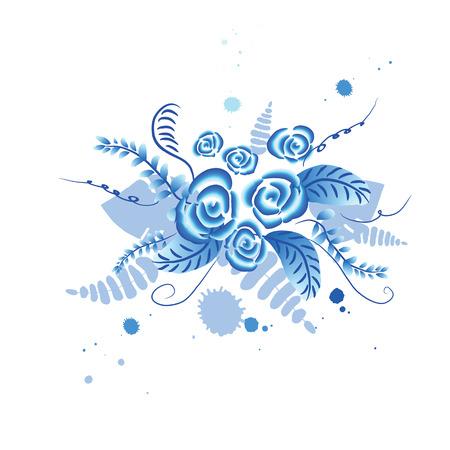 gzhel: Russian ornament Gzhel floral background. Bouquet with floral elements gzhel style vector illustration