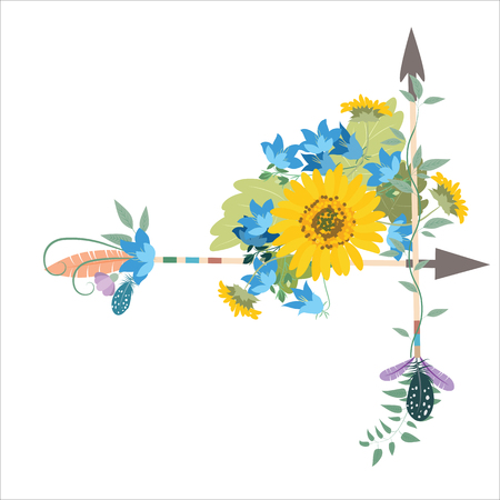 engagement party: Flower arrangement with sunflowers kolokolchiklm arrows. Greeting card with flowers sunflower. Decorative arrows with feathers of birds and peony.