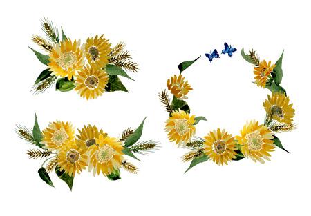 Illustratie van de collectie van gele zonnebloemen en tarwe oren, aquarel Hand Made. Stock Illustratie