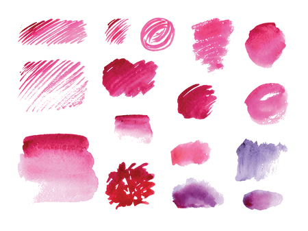 burgundy: Handmade watercolor texture collection of pink paint. Isolated watercolor color marsala spots.