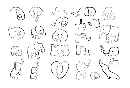 Collection of 26 elephants drawn by a line for creating greeting collection of 26 elephants drawn by a line for creating greeting cards patterns stock vector m4hsunfo