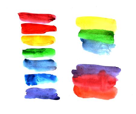 chromatic colour: Handmade watercolor texture colorful paint drops color wheel. Isolated watercolor rainbow spectrum spot.
