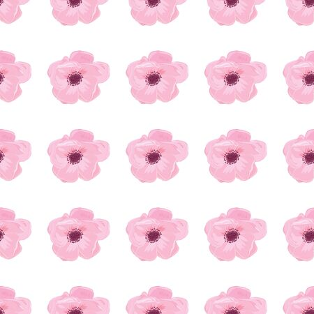 anemone: Illustration greeting hand-drawn anemone floral background. Vector pattern with flowers and leaves Illustration