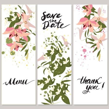 Illustrazione di saluto a mano disegnato sfondo giglio floreale. Modello di vettore con fiori e foglie Vettoriali
