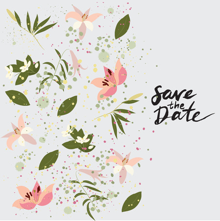 orange blossom: Illustration greeting hand-drawn lily floral background. Vector pattern with flowers and leaves Illustration