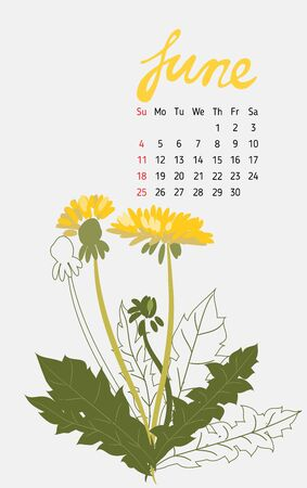 Vintage floral calendar 2017 with the names of the months written in calligraphy watercolor. Vector illustration. Illustration