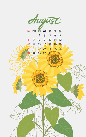 almanac: Vintage floral calendar 2017 with the names of the months written in calligraphy watercolor. Vector illustration. Illustration