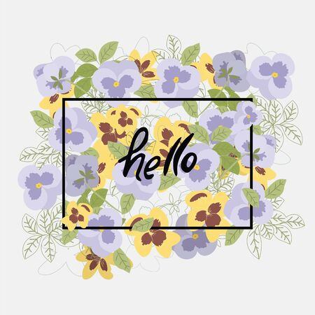 pansy: Vector floral pattern with pansy flowers in the flat and a sketch style. Outline style vector illustration.