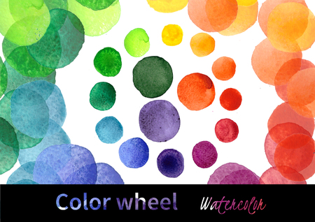 secondary colors: Handmade watercolor texture colorful paint drops color wheel. Isolated watercolor rainbow spectrum spot.