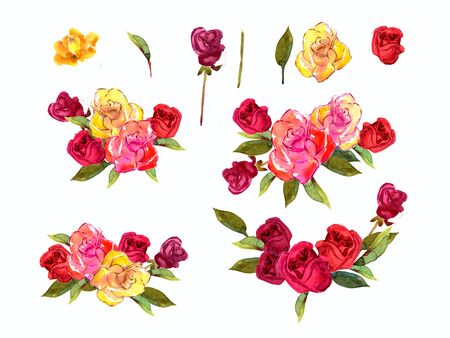 orange roses: Illustration watercolor flowers rose red yellow and green leaves. Suits well for prints, scrapbooking, decorations, wedding, holiday invitations