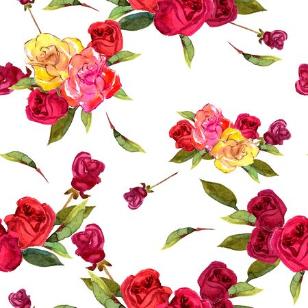 watercolor paper: Illustration watercolor flowers rose red yellow and green leaves. Suits well for prints, scrapbooking, decorations, wedding, holiday invitations