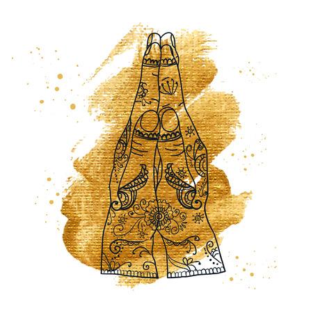 Element yoga mudra hands namaste with mehndi patterns. Vector illustration. Indian traditional lifestyle. Illustration