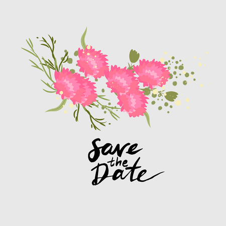 Illustration greeting hand-drawn carnation floral background. Vector pattern with flowers and leaves