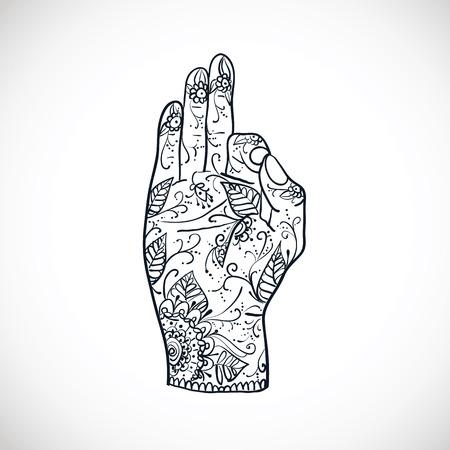 om: Element yoga Jnana mudra hands with mehndi patterns. illustration. Indian traditional lifestyle.