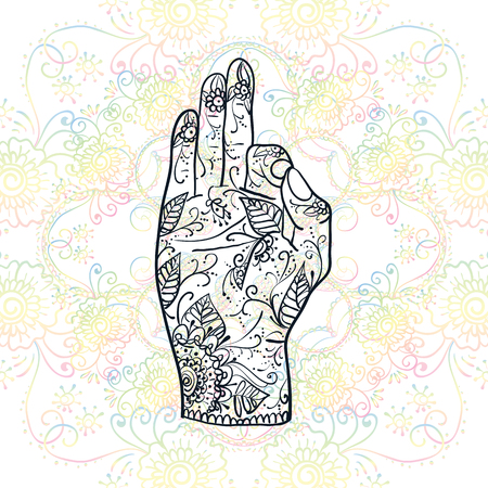 Element yoga Jnana mudra hands with mehndi patterns. illustration. Indian traditional lifestyle.