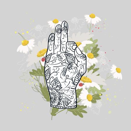 jnana: Element yoga Jnana mudra hands with mehndi patterns. illustration. Indian traditional lifestyle.