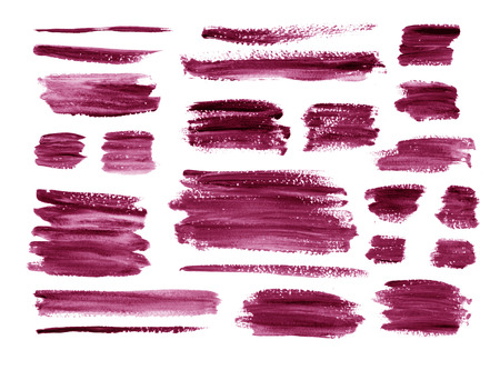 Gouache Lilac,magenta textures splash,brushes. Hand painting texture stains,spot,design elements. Watercolor,acrylic art element. For Valentine day,wedding,holiday backdrop. Vector background. Ilustracja