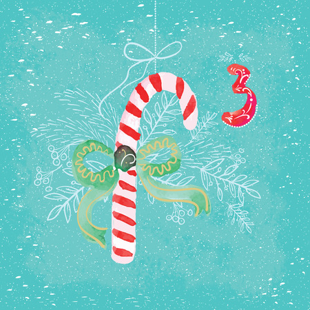 advent calendar: Colorful poster Christmas Advent Calendar. Abstract watercolor - the countdown to Christmas. One of the parts of the calendar. Look in my portfolio. Stock Photo