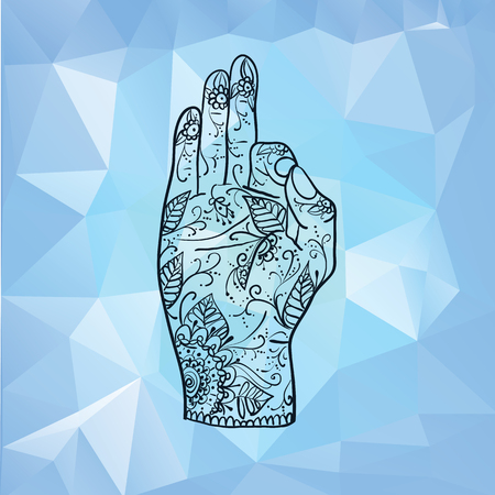 mudra: Element yoga Jnana mudra hands with mehndi patterns. illustration. Indian traditional lifestyle.