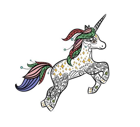 Unicornio mítico en un vector de estilo de doodle de animales mágico. Diseño decorativo para colorear libros para adultos y niños. Stress art therapy Dibujo para colorear. Impresión de ropa, tatuajes, tarjetas, etc.