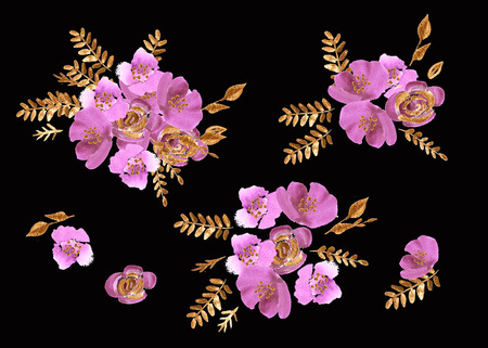Watercolor flowers roses peonies pattern. Hand painted art texture with peonies, roses and golden leaves. Design wallpaper
