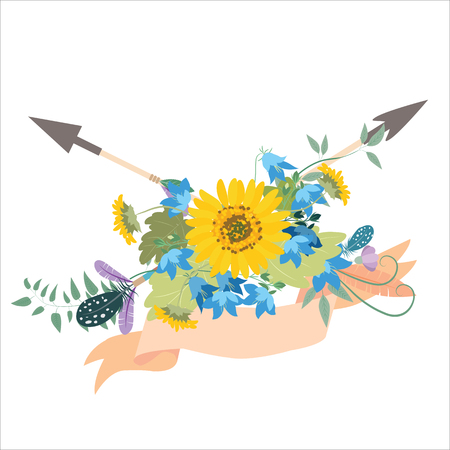 Flower arrangement with sunflowers kolokolchiklm arrows. Greeting card with flowers sunflower. Decorative arrows with feathers of birds and peony.