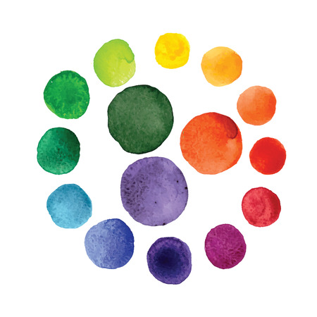 Handmade watercolor texture colorful paint drops color wheel. Isolated watercolor rainbow spectrum spot. Stock Vector - 67560375
