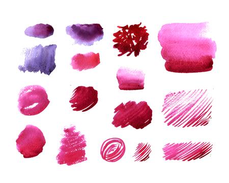 Handgemaakte aquarel textuur collectie van roze verf. Geïsoleerde aquarel kleur marsala vlekken. Stockfoto